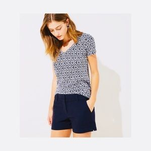 Ann Taylor Signature Navy Blue Cotton Shorts.